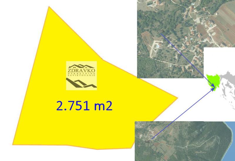 Građevinsko zemljište 2.751 m2, Rebići.