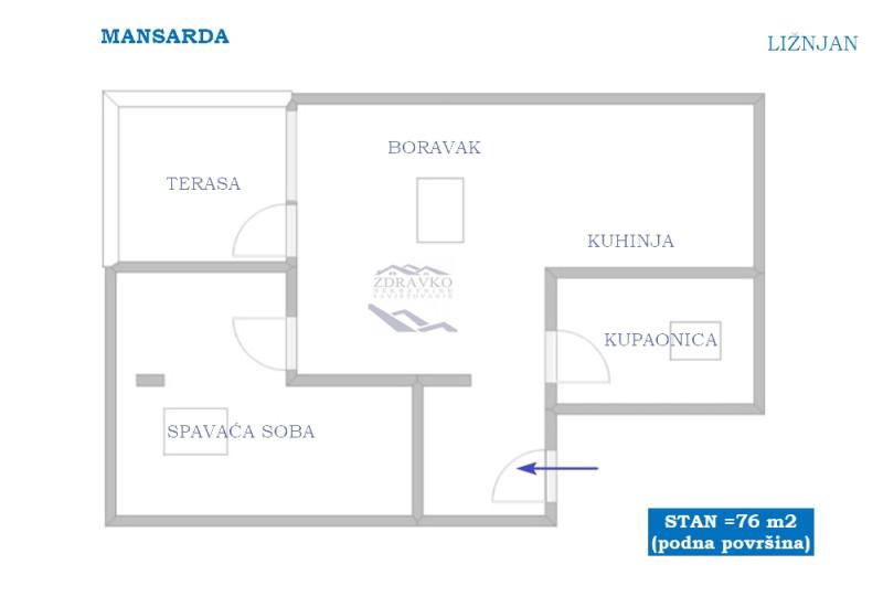 Stan u Ližnjanu, 76 m2 (mansarda).
