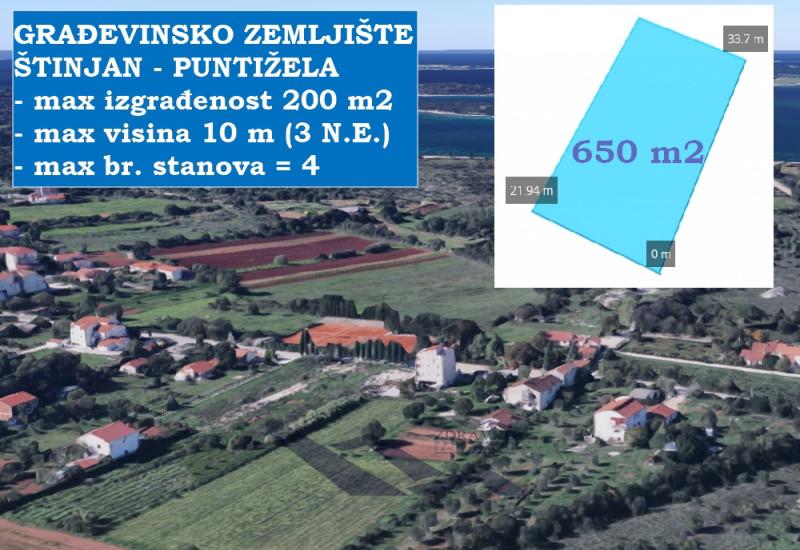 Građevinsko zemljište u Štinjanu, Puntižela, 650 m2