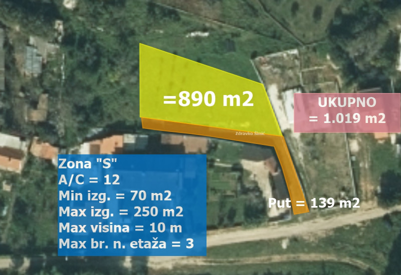 Građevinsko zemljište 1.019 m2, Valmade