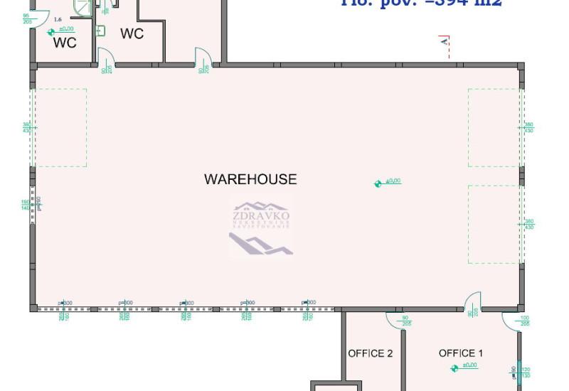Poslovna zgrada 394 m2 + zemljište 2.421 m2.